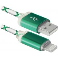 Дата кабель USB 2.0 AM to Lightning 1.0m ACH03-03LT GreenLED backlight Defender (87553)