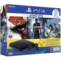 Игровая консоль SONY PlayStation 4 Slim 500 Gb Black (HZD+GOW3+UC4+PSPlus 3М) (9946564)