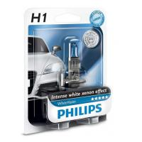 Автолампа PHILIPS H1 WhiteVision +60%, 3700K, 1шт (12258WHVB1)