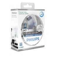 Автолампа PHILIPS H1 WhiteVision +60%, 3700K, 2шт (12258WHVSM)