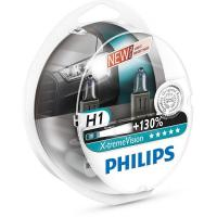Автолампа PHILIPS H1 X-treme VISION +130%, 3700K, 2шт (12258XV+S2)
