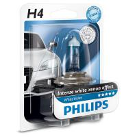 Автолампа PHILIPS H4 WhiteVision +60%, 3700K, 1шт (12342WHVB1)