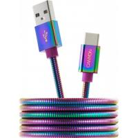 Дата кабель USB 2.0 AM to Type-C 1.0m Rainbow CANYON (CNS-USBC7RW)